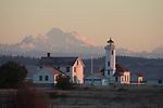 Point Wilson lighthouse, Mount Baker, Port Townsend, Puget Sound, Admiralty Inlet, Washington State, Pacific Northwest, USA,