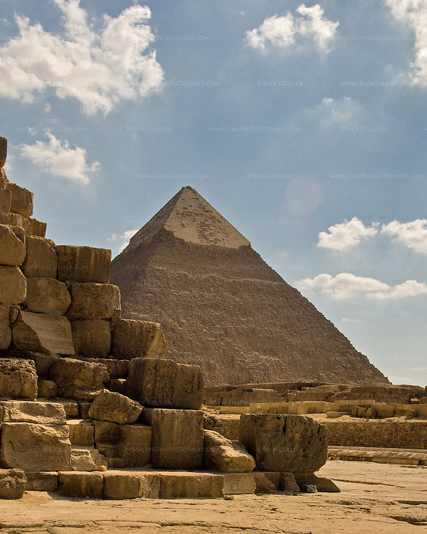 """Giza, Cairo, Egypt -- The """"second pyramid,"""" the pyramid of Khafre, helps set the scene at the Great Pyramid of Khufu (Cheops) (in foreground). © Rick Collier / RickCollier.com."""