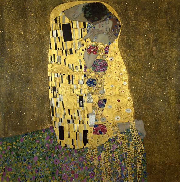 "Klimt, Gustav 1862–1918.<br /> <br /> ""The Kiss"", 1908.<br /> <br /> Oil on canvas, 180 × 180cm.<br /> Vienna, Österr. Galerie im Belvedere."