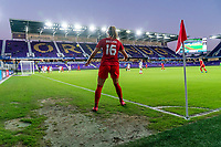 ORLANDO, FL - FEBRUARY 21: Janine Beckie #16 of Canada follows through on a corner kick during a game between Canada and Argentina at Exploria Stadium on February 21, 2021 in Orlando, Florida.