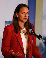 2006 Soccer Hall of Fame inductee Carla Werden Overbeck gives an acceptance speech at her enshrinement in the National Soccer Hall of Fame at Wright Soccer Campus, Oneonta, NY, on August 28, 2006.