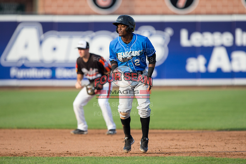 Vidal Brujan (2) of the Hudson Valley Renegades takes his lead off of second base against the Aberdeen IronBirds at Leidos Field at Ripken Stadium on July 27, 2017 in Aberdeen, Maryland.  The Renegades defeated the IronBirds 2-0 in game one of a double-header.  (Brian Westerholt/Four Seam Images)