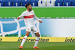 Torschütze Nicolas Gonzalez (VfB, 22), jubelt über das Tor zum 1:1, Jubel, Torjubel, Torerfolg, celebrate the goal, goal, celebration, Jubel ueber das Tor, optimistisch, Spielszene, Highlight, Einzelbild, Action, Aktion, 21.11.2020, Sinsheim  (Deutschland), Fussball, Bundesliga, TSG 1899 Hoffenheim - VfB Stuttgart, DFB/DFL REGULATIONS PROHIBIT ANY USE OF PHOTOGRAPHS AS IMAGE SEQUENCES AND/OR QUASI-VIDEO. <br /> <br /> Foto © PIX-Sportfotos *** Foto ist honorarpflichtig! *** Auf Anfrage in hoeherer Qualitaet/Aufloesung. Belegexemplar erbeten. Veroeffentlichung ausschliesslich fuer journalistisch-publizistische Zwecke. For editorial use only.