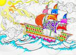 Illustration of cruise ship sailing in sea