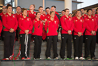 Wednesday September 10, 2014 <br /> Picture: Commonwealth Games: Team Wales<br /> RE: Team Wales athletes attend a Commonwealth Games homecoming ceremony at the Senedd, Cardiff, South Wales, United Kingdom.