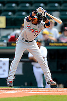 Fort Myers Miracle second baseman Eddie Rosario #11 avoids an inside pitch during a game against the Bradenton Marauders at McKechnie Field on April 7, 2013 in Bradenton, Florida.  Fort Myers defeated Bradenton 9-8 in ten innings.  (Mike Janes/Four Seam Images)