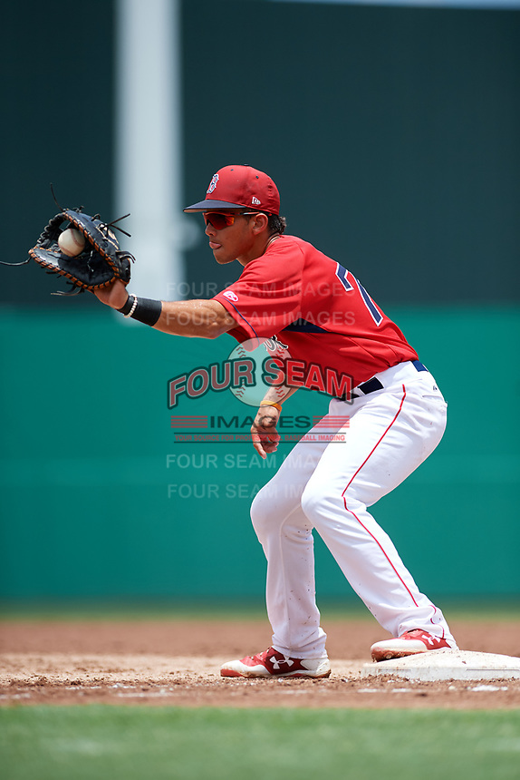 GCL Red Sox first baseman Keibert Petit (71) receives a throw during a game against the GCL Rays on August 1, 2018 at JetBlue Park in Fort Myers, Florida.  GCL Red Sox defeated GCL Rays 5-1 in a rain shortened game.  (Mike Janes/Four Seam Images)
