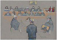 Montreal - CANADA - File images -  An artist's sketch shows Luka Rocco Magnotta's  trial for the murder of Lin Jun, October 16, 2014.<br /> <br />  It is one of the most grisly and sensational murder trials in Canadian history<br /> <br /> Image :  Agence Quebec Presse  - Atalante