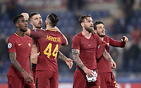 Football Soccer: UEFA Champions League AS Roma vs Qarabag FK Stadio Olimpico Rome, Italy, December 5, 2017. <br /> Roma's players celebrate after winning 1-0 the Uefa Champions League football soccer match between AS Roma and Qarabag FK at at Rome's Olympic stadium, December 05, 2017.<br /> AS Roma reachs Champions League last 16.<br /> UPDATE IMAGES PRESS/Isabella Bonotto