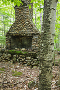 Remnants of a building at the abandoned Civilian Conservation Corps camp in Hart's Location, New Hampshire. The Civilian Conservation Corps was a public work relief program that operated from 1933 to 1942 in the United States. Many of the construction projects they did during their existence benefit us today.