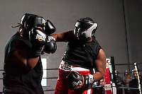 October 13, 2012, Delran, New Jersey, USA: Derek Frazier (right) lands a punch on opponent Geraldo Rios during the taping of the MTV reality show Made at It's On Boxing/MMA.
