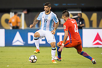 Action photo during the match Argentina vs Chile, Corresponding to Great Final of the America Centenary Cup 2016 at Metlife Stadium, East Rutherford, New Jersey.<br /> <br /> <br /> Foto de accion durante el partido Argentina vs Chile, correspondiente a la Gran Final de la Copa America Centenario 2016 en el  Metlife Stadium, East Rutherford, Nueva Jersey, en la foto: (i-d) Ever Banega de Argentina y Mauricio Isla de Chile<br /> <br /> <br /> 26/06/2016/MEXSPORT/Jorge Martinez.