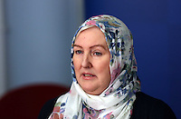 """Pictured: Andrea Aburas giving a statement at Cardiff Bay Police Station. Monday 05 January 2015<br /> Re: A man has pleaded guilty of murdering a woman in a Cardiff hotel room has been found by police.<br /> Sammy Almahri from New York, went on the run following the discovery of Nadine Aburas's body at the Future Inn, Cardiff Bay, on 31 December 2014.<br /> An international search was launched to find Mr Almahri.<br /> He was arrested by Tanzanian Police.<br /> Nadine's family has issued the following statement:  """"Justice has been done for Nadine. The right verdict has been returned. We wish to thank everyone who has assisted us throughout this tragic period in our lives.<br /> """"We ask now that we are given time to grieve and remember our beautiful girl. We will give a full statement after sentence."""""""