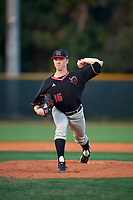 Rutgers Scarlet Knights relief pitcher Tevin Murray (16) delivers a pitch during a game against the Indiana Hoosiers on February 23, 2018 at North Charlotte Regional Park in Port Charlotte, Florida.  Indiana defeated Rutgers 7-6.  (Mike Janes/Four Seam Images)