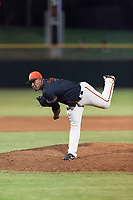 AZL Giants Black relief pitcher Jose Maita (39) follows through on his delivery during an Arizona League game against the AZL Rangers at Scottsdale Stadium on August 4, 2018 in Scottsdale, Arizona. The AZL Giants Black defeated the AZL Rangers by a score of 6-3 in the second game of a doubleheader. (Zachary Lucy/Four Seam Images)
