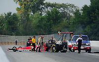 Sept. 3, 2011; Claremont, IN, USA: NHRA top fuel dragster driver Doug Kalitta during qualifying for the US Nationals at Lucas Oil Raceway. Mandatory Credit: Mark J. Rebilas-