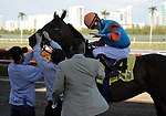 31 January 2009: Julien Leparoux gets congratulations from trainer Eddie Kenneally after Saratoga Spinner wins the 20th running of the Grade 3 Holy Bull Stakes for three-year-olds at Gulfstream Park in Hallandale, Florida.