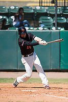 Visalia Rawhide third baseman Drew Ellis (10) follows through on his swing during a California League game against the Stockton Ports at Visalia Recreation Ballpark on May 9, 2018 in Visalia, California. Stockton defeated Visalia 4-2. (Zachary Lucy/Four Seam Images)
