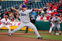 Rob Scahill (34) of the Tulsa Drillers throws a pitch during a game against the Springfield Cardinals on April 29, 2011 at Hammons Field in Springfield, Missouri.  Photo By David Welker/Four Seam Images.