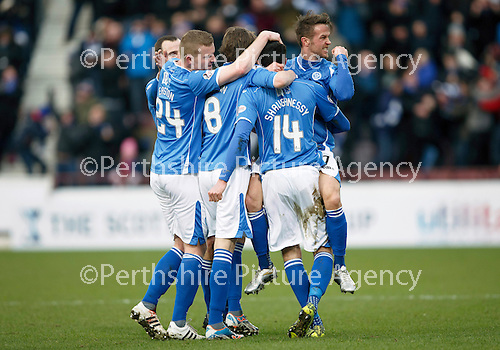 Hibs v St Johnstone...30.01.16   Utilita Scottish League Cup Semi-Final, Tynecastle..<br /> Chris Millar shows his delight as Joe Shaughnessy celebrates his goal<br /> Picture by Graeme Hart.<br /> Copyright Perthshire Picture Agency<br /> Tel: 01738 623350  Mobile: 07990 594431