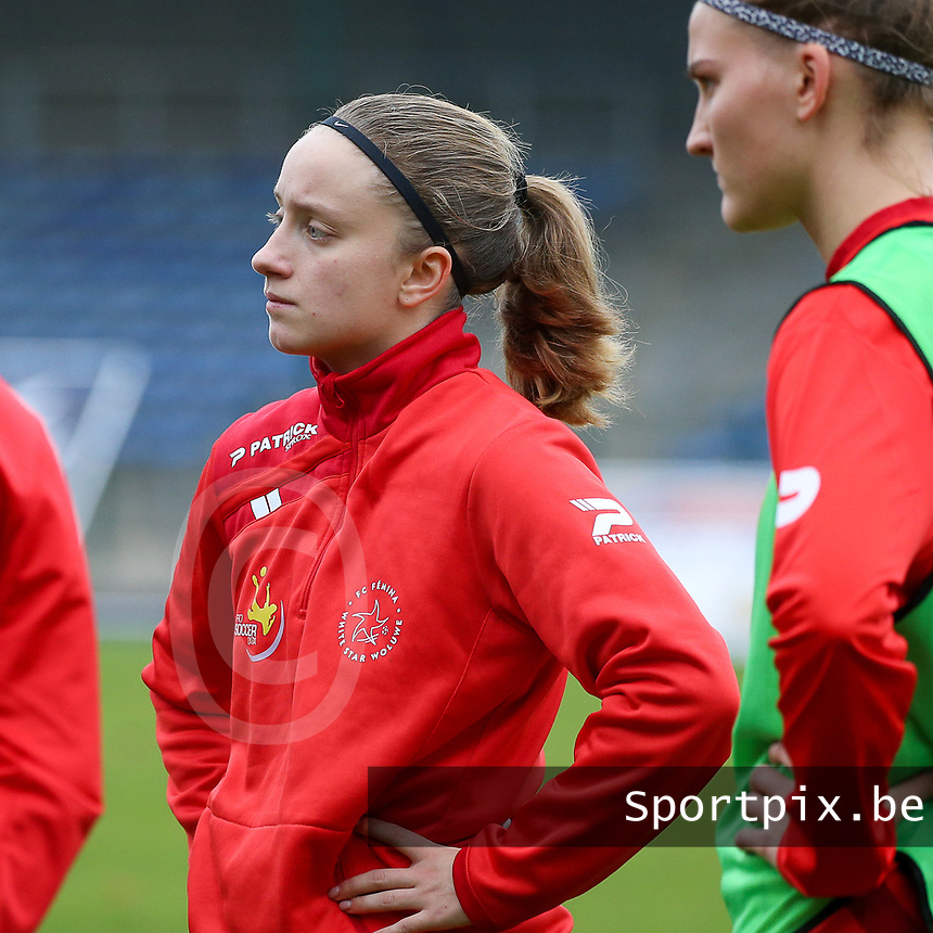 Estelle Peron (45 Woluwe) pictured before  a female soccer game between FC Femina WS Woluwe and RSC Anderlecht Women on the eight match day of the 2020 - 2021 season of Belgian Women's Super League , Sunday 22nd of November 2020  in Woluwe, Belgium . PHOTO SPORTPIX.BE | SPP | SEVIL OKTEM