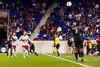Robbie Russell (3) of D. C. United on a throw in. D. C. United defeated the New York Red Bulls 1-0 (2-1 in aggregate) during the second leg of the MLS Eastern Conference Semifinals at Red Bull Arena in Harrison, NJ, on November 8, 2012.