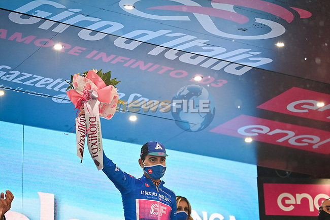Ruben Guerreiro (POR) EF Pro Cycling wins Stage 9 and also takes over the mountains Maglia Azzurra of the 103rd edition of the Giro d'Italia 2020 running 208km from San Salvo to Roccaraso (Aremogna), Sicily, Italy. 11th October 2020.  <br /> Picture: LaPresse/Massimo Paolone | Cyclefile<br /> <br /> All photos usage must carry mandatory copyright credit (© Cyclefile | LaPresse/Massimo Paolone)