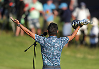 18th July 2021; Royal St Georges Golf Club, Sandwich, Kent, England; The Open Championship Golf, Day Four; 2021 Open Champion Collin Morikawa (USA) holds the Claret Jug trophy as he gives his acceptance speech