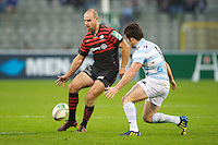 20121020 Copyright onEdition 2012©.Free for editorial use image, please credit: onEdition..Charlie Hodgson of Saracens chips ahead during the Heineken Cup Round 2 match between Saracens and Racing Metro 92 at the King Baudouin Stadium, Brussels on Saturday 20th October 2012 (Photo by Rob Munro)..For press contacts contact: Sam Feasey at brandRapport on M: +44 (0)7717 757114 E: SFeasey@brand-rapport.com..If you require a higher resolution image or you have any other onEdition photographic enquiries, please contact onEdition on 0845 900 2 900 or email info@onEdition.com.This image is copyright the onEdition 2012©..This image has been supplied by onEdition and must be credited onEdition. The author is asserting his full Moral rights in relation to the publication of this image. Rights for onward transmission of any image or file is not granted or implied. Changing or deleting Copyright information is illegal as specified in the Copyright, Design and Patents Act 1988. If you are in any way unsure of your right to publish this image please contact onEdition on 0845 900 2 900 or email info@onEdition.com