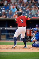 Toledo Mud Hens Mikie Mahtook (9) bats during an International League game against the Durham Bulls on July 16, 2019 at Fifth Third Field in Toledo, Ohio.  Durham defeated Toledo 7-1.  (Mike Janes/Four Seam Images)
