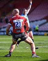 24th April 2021; Kingsholm Stadium, Gloucester, Gloucestershire, England; English Premiership Rugby, Gloucester versus Newcastle Falcons; Willi Heinz of Gloucester celebrates scoring their third try as Referee Tom Foley confirms the try