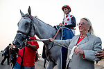 TORONTO, ON - SEPTEMBER 16: Owner Charlotte Weber leads World Approval #1 (red cap), ridden by John Velazquez, into the winner's circle after winning the Ricoh Woodbine Mile on Ricoh Woodbine Mile Day at Woodbine Racetrack on September 16, 2017 in Toronto, Ontario. (Photo by Scott Serio/Eclipse Sportswire/Getty Images)