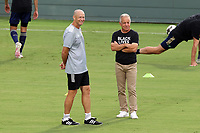 CARY, NC - AUGUST 01: Dave Sarachan and Mike McGinty watch players during a game between Birmingham Legion FC and North Carolina FC at Sahlen's Stadium at WakeMed Soccer Park on August 01, 2020 in Cary, North Carolina.