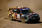 Driver Luachlin O'Sullivan and co-driver Scott Putnam come around a turn near the finish line while competing in the Rally Car Race finals during X-Games 12 in Los Angeles, California on August 5, 2006.