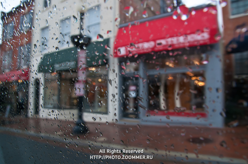 Raindrops on car window in Georgetown, Washington DC