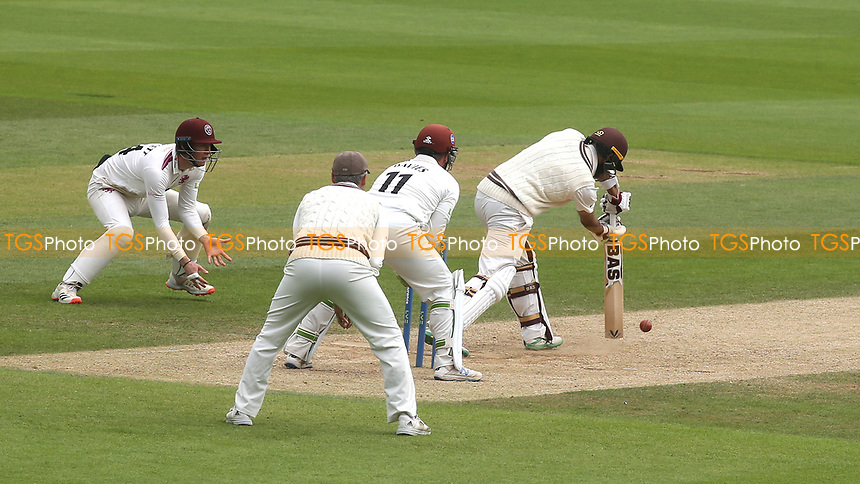 Hashim Amla of Surrey plays a forward defensive stroke during Surrey CCC vs Somerset CCC, LV Insurance County Championship Group 2 Cricket at the Kia Oval on 13th July 2021