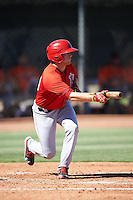 Los Angeles Angels of Anaheim Connor Justus (33) during an Instructional League game against the San Francisco Giants on October 13, 2016 at the Tempe Diablo Stadium Complex in Tempe, Arizona.  (Mike Janes/Four Seam Images)
