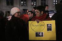 Demontration against (Front National Leader) Marine LePen visit in Montreal,<br /> March 21 ,<br /> 2016.<br /> <br /> Photo : Josie Desmarais - Agence Quebec Presse