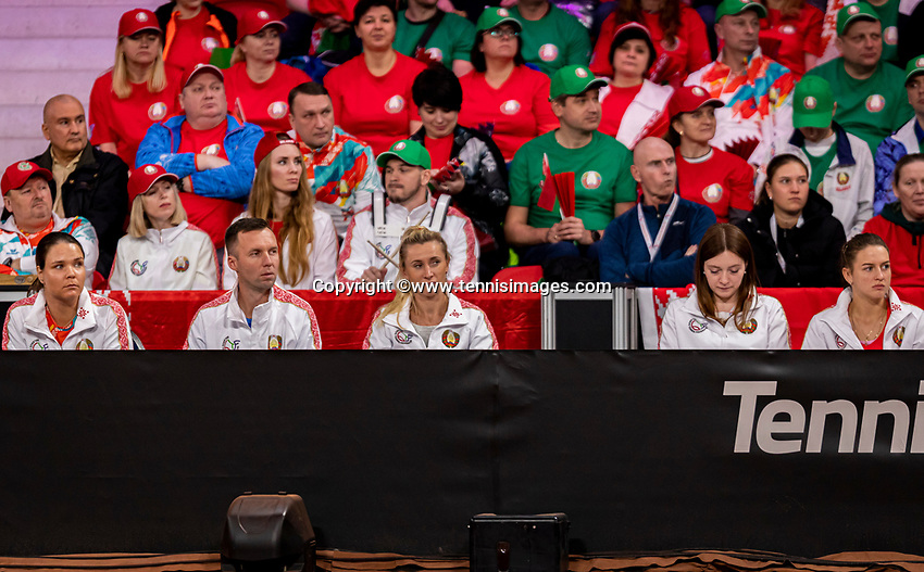 The Hague, The Netherlands, Februari 7, 2020,    Sportcampus, FedCup  Netherlands -  Balarus, Seccond match on friday:  Balarus team and supporters<br /> Photo: Tennisimages/Henk Koster