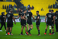 The All Blacks after the Bledisloe Cup rugby union match between the New Zealand All Blacks and Australia Wallabies at Sky Stadium in Wellington, New Zealand on Sunday, 11 October 2020. Photo: Dave Lintott / lintottphoto.co.nz