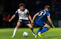Bolton Wanderers' Callum King-Harmes (left) competing with Rochdale's Rhys Norrington-Davies <br /> <br /> Photographer Andrew Kearns/CameraSport<br /> <br /> The Carabao Cup First Round - Rochdale v Bolton Wanderers - Tuesday 13th August 2019 - Spotland Stadium - Rochdale<br />  <br /> World Copyright © 2019 CameraSport. All rights reserved. 43 Linden Ave. Countesthorpe. Leicester. England. LE8 5PG - Tel: +44 (0) 116 277 4147 - admin@camerasport.com - www.camerasport.com
