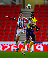21st November 2020; Bet365 Stadium, Stoke, Staffordshire, England; English Football League Championship Football, Stoke City versus Huddersfield Town; Nick Powell of Stoke City heads the ball