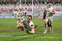 26 February 2021; Rob Lyttle of Ulster dives over to score his side's fourth try which was subsequently disallowed  during the Guinness PRO14 match between Ulster and Ospreys at Kingspan Stadium in Belfast. Photo by John Dickson/Dicksondigital