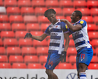 2nd April 2021, Oakwell Stadium, Barnsley, Yorkshire, England; English Football League Championship Football, Barnsley FC versus Reading; Yakou Méïte of Reading celebrates the goal from Ovie Ejaria of Reading for 1-0 in min 34