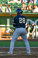 Eudy Ramos (28) of the Missoula Osprey at bat against the Ogden Raptors in Pioneer League action at Lindquist Field on July 14, 2016 in Ogden, Utah. Ogden defeated Missoula 10-4. (Stephen Smith/Four Seam Images)