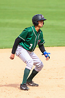 Great Lakes Loons infielder Moises Perez (7) leads off from second base during a Midwest League game against the Wisconsin Timber Rattlers on May 12, 2018 at Fox Cities Stadium in Appleton, Wisconsin. Wisconsin defeated Great Lakes 3-1. (Brad Krause/Four Seam Images)