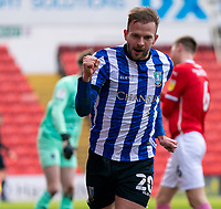 20th March 2021, Oakwell Stadium, Barnsley, Yorkshire, England; English Football League Championship Football, Barnsley FC versus Sheffield Wednesday; Jordan Rhodes of Sheffield Wednesday celebrates the opening goal after 38 minutes