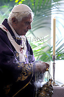 Pope Benedict XVI celebrates mass  during his visit at the parish of San Giovanni Battista de La Salle, in the Rome.March 4, 2012
