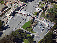 aerial photograph Golden Gate bridge toll plaza, San Francisco, California