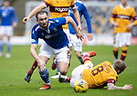 Motherwell v St Johnstone…20.02.21   Fir Park   SPFL<br />Chris Kane gets the better of Robbie Crawford<br />Picture by Graeme Hart.<br />Copyright Perthshire Picture Agency<br />Tel: 01738 623350  Mobile: 07990 594431